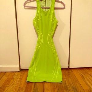 Lime Green, Open Back Bebe Mini Dress